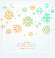 colorful christmas greeting snowflakes design vector image