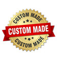 custom made 3d gold badge with red ribbon vector image vector image