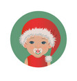 cute baby santa claus emoticon with pacifier vector image vector image