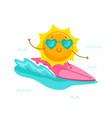cute cartoon sun character wearing heart vector image vector image