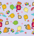 cute cat seamless pattern with flower and cup vector image vector image