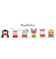 cute christmas safari animals sloth llama bunny vector image
