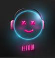 cute neon light glowing 3d emoticon smiley happy vector image