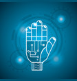cyberspace hand with circuits system connect vector image vector image