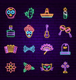 day of the dead neon icons vector image vector image