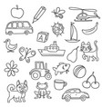 different doodle items for kids first education vector image