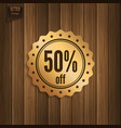 discount badge on wooden background vector image