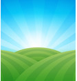 farm green fields with hills under blue clear vector image vector image
