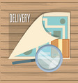 fast delivery with paper map travel vector image