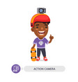flat cartoon character with action camera vector image vector image