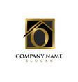 gold letter o house logo vector image