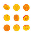golden coins with yen symbols vector image