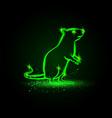 green neon standing rat on hind legs rat vector image