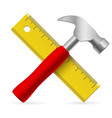 hammer and ruler on white background vector image vector image