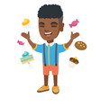 happy african boy standing among lots of sweets vector image vector image