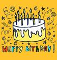 happy birthday hand drawn vector image