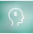 Head with dollar symbol thin line icon vector image vector image