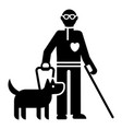 invalid person with dog icon simple style vector image