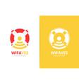 lifebuoy and wifi logo combination unique vector image