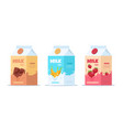 milk package sweet milk with different tastes vector image