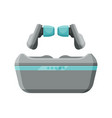 modern mobile wireless earbuds with pouch vector image