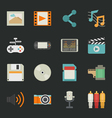 multimedia icons with black background eps10 vector image vector image