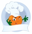 Orange cartoon character with promo ribbon vector image vector image