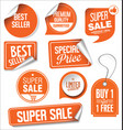 orange sale stickers collection vector image vector image