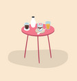 pink color table with cups with drinks and vector image vector image