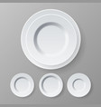 plate top view dinner white clean empty vector image