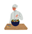 professional male chef cooking salad kitchener vector image vector image