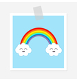 Rainbow and two white clouds Smiling face emotion vector image
