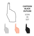 raised index finger icon in cartoon style isolated vector image