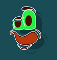 realistic paper sticker on theme cartoon face vector image vector image