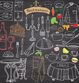 Restaurant sketch doodles set Hand drawn elements vector image vector image