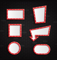 retro red blank frames with illuminated light vector image