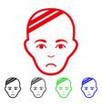 sad patient head icon vector image vector image