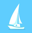 sailing ship white icon isolated on blue vector image vector image