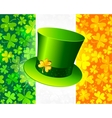 Saint Patricks hat on Irish flag vector image vector image