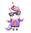 schoolgirl education sunglasses cute girl unicorn vector image vector image