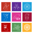 Set of Colorful Square Linear Style Icons vector image vector image