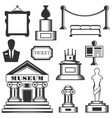 set of museum isolated icons black and vector image vector image