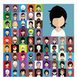 set people icons in flat style with faces 10 a vector image vector image