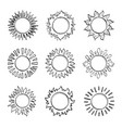sketch sun hand drawn sunshine symbols cute vector image vector image