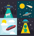Space ufo banner set flat style