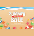 summer sale with decoration origami on beach vector image vector image