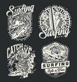 surfing vintage monochrome logotypes vector image vector image