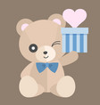 teddy bear with gift set 1 vector image vector image