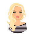 the girl is lovely avatar blonde haircartoon vector image vector image