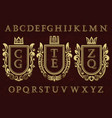 vintage initial logos kit coat of arms frames vector image vector image
